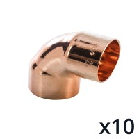 10 x End Feed 90° Degree Elbow 22mm